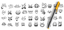 Face Expressions Doodle Set. Collection Of Pencil Ink Hand Drawn Sketches Templates Patterns Of Funny Happy And Upset Faces Emoticons On White Background. Positive And Negative Emoji Illustration.