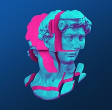 Abstract Illustration From 3d Rendering Of Michelangelo's David Marble Bust Of Male Classical Sculpture Head Cut Into Blocks And Pieces In Vaporwave Style.