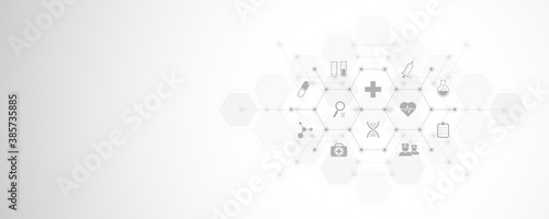 Abstract medical background with flat icons and symbols Fototapet