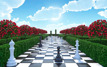 Maze Garden 3d Render Illustration. Chess, Trees With Red Flowers And Clouds In The Sky. Alice In Wonderland Theme.