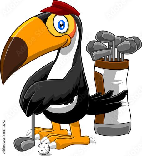 Naklejka premium Golfer Toucan Bird Cartoon Character. Vector Illustration Isolated On White Background