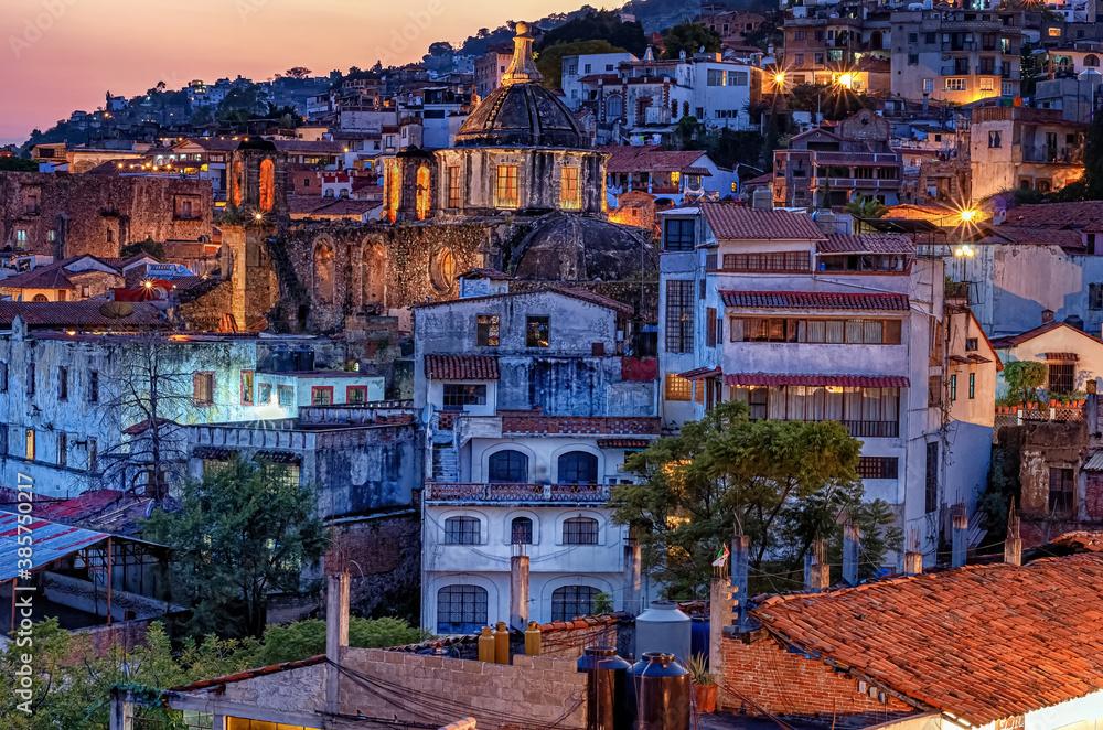 Fototapeta night view Taxco city , Mexico