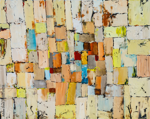 An irregular grid painting with rough brushwork and bright colour Canvas Print