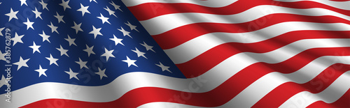 Tablou Canvas United States Flag Vector Closeup Illustration
