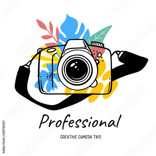 Vector illustration of slr photo camera with black strap and flower on white background with text.
