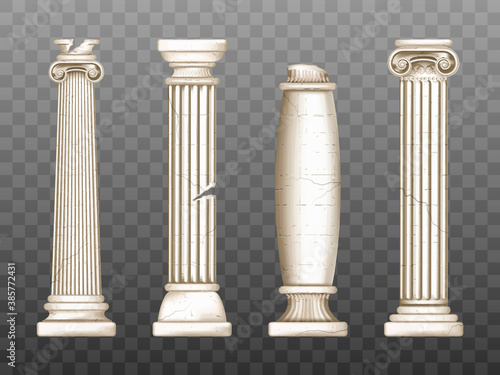 Baroque pillars, roman renaissance cracked columns Canvas