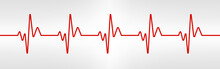 Heart Beat Line. Red Healthy Pulse Trace. Electrocardiogram Or ECG Curve. Human Cardio Beat. Vibration Chart. Life Sign. Cardiogram Waveform. Vector Illustration