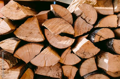 Fotomural firewood log background. Alternative biomass renewal energy