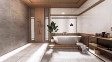 The Tropical Bathroom Japanese Style .3D Rendering