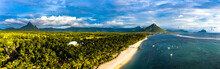 Mauritius, Black River, Flic-en-Flac, Helicopter Panorama Of Palm Trees Stretching Along Coastal Beach