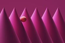 Three Dimensional Render Of Orange Sphere Rolling Down Pink Cones