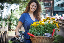 Young Woman With Flower Pots I...