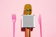 Studio Shot Of Golden Micropho...