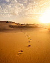 Footprints In Desert Sand At Sunset