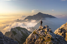 Hiker Admiring Awesome View Wh...