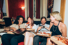 Happy Friends Eating Pizza Whi...