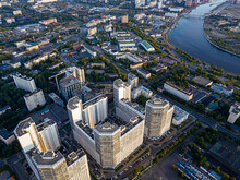 Russia, Moscow Oblast, Moscow, Aerial View Of Residential Area WithÔøΩMoskvaÔøΩriver In Background