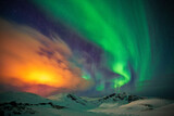 Aurora over the mountains, Finnmark, Norway