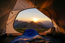 Tent Pitched In Allgau Alps At...