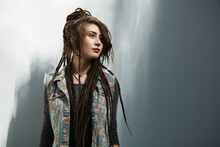 Hipster Young Woman With Long ...