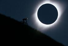 View Of Man Mountain Biking Un...