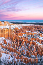 High Angle View Of Snow Covered Hoodoos In Bryce Canyon National Park During Sunrise
