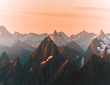 Sunrise Over Mountain Peaks In...
