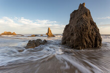 Waves Crashing On Sea Stacks O...