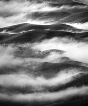 View Of Fog Over Rolling Hills...