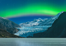 Scenic View Of Aurora Borealis Over Mendenhall Glacier At Night