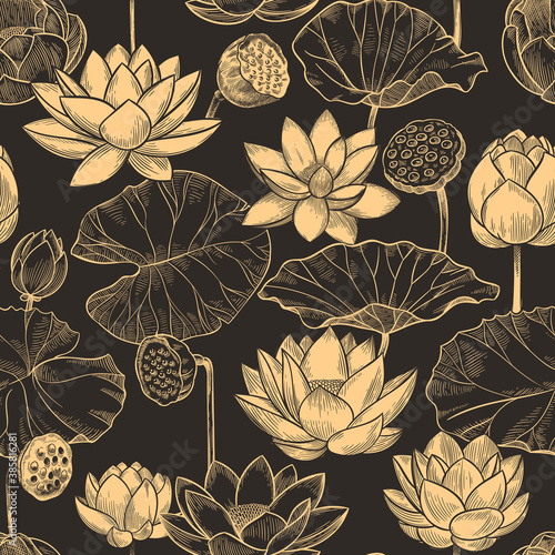 Sketch lotus seamless pattern. Floral composition water lily flowers and leaves, monochrome lotuses for products, wallpaper vector texture. Illustration lotus floral, flower plant repetition