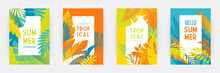 Tropical Themed Banners Set. Creative Compositions Of Colorful Palm Leaves And Branches. Floral Geometric Design Template For Posters, Covers, Social Media Stories. Flat Style Vector Illustration
