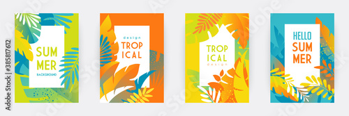 Fototapeta Tropical themed banners set. Creative compositions of colorful palm leaves and branches. Floral geometric design template for posters, covers, social media stories. Flat style vector illustration obraz