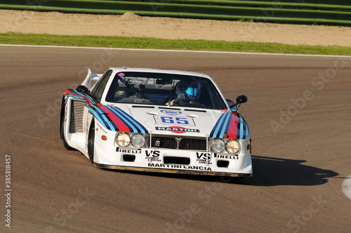 Imola Classic 22 Oct 2016: Lancia Beta Montecarlo year 1979 driven by unknown, during practice on Imola Circuit, Italy.