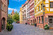 canvas print picture - Nurnberg. Famous Weissgerbergasse historic street in Nuremberg old town view