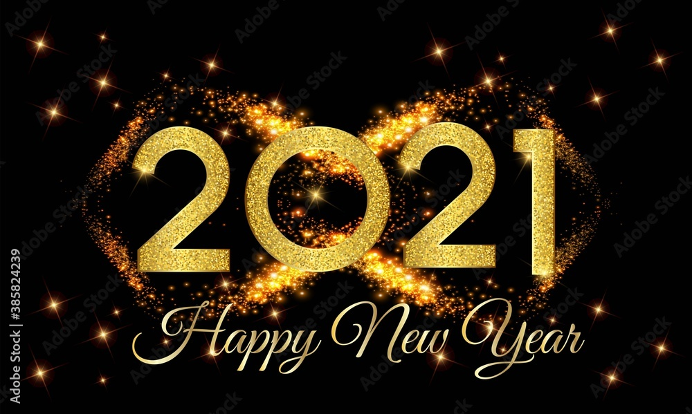Fototapeta 2021 Happy New Year Golden Number with Golden Light Background illustration - Happy New Year 2021 Golden Number on Golden Light Effect Background - New Year 2021 Luxury Text Design Vector eps 10