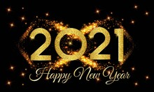 2021 Happy New Year Golden Number With Golden Light Background Illustration - Happy New Year 2021 Golden Number On Golden Light Effect Background - New Year 2021 Luxury Text Design Vector Eps 10