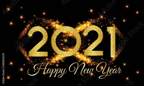 2021 Happy New Year Golden Number with Golden Light Background illustration - Ha Fototapeta