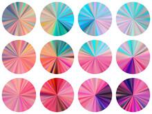 Circular Metallic Gradient Disk Elements Vector