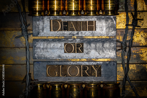 Fotomural Death Or Glory text message on lead bars between copper 50 caliber gun casings s