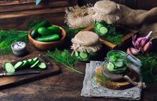 Homemade Pickled Cucumbers Cut...