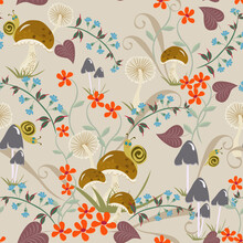 Vector Floral Seamless Pattern With Hand Drawn Mushrooms, Flowers, Leaves, Snails. Elegant Background. Cute Doodle Style Texture. Vintage Wallpapers. Funny Repeat Design For Kids, Boys And Girls