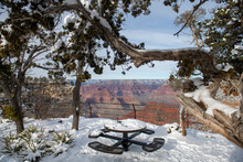 Snowy Picnic Table On Grand Ca...