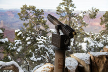 Coin-operated Telescope, Snow Covered Pine Trees At The Grand Canyon