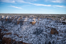 View Of The Snow Covered Grand Canyon Village And The South Rim Wall