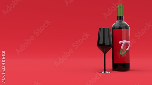 Obraz Elegant wine bottle with label and the glass on red background. Modern cover design. 3d illustration. - fototapety do salonu