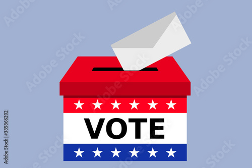 Obraz Voting concept envelope inserted in Ballot box or urn vector isolated - United States of America - fototapety do salonu