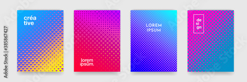 Fototapeta Background pattern design for covers, abstract color gradient and trendy halftone, vector. Creative trendy backgrounds, neon color cool simple halftone gradient and dot pattern posters set obraz