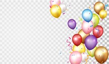 Birthday And Celebration Banner With Colorful Balloon