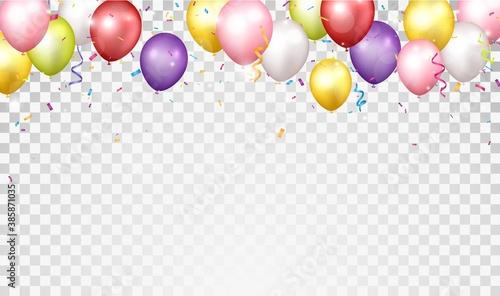 Fototapeta Birthday and celebration banner with colorful balloon obraz